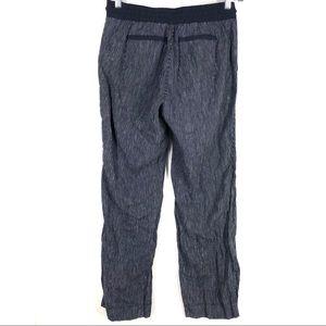 Athleta Pants - Athleta navy pinstriped linen pants 8
